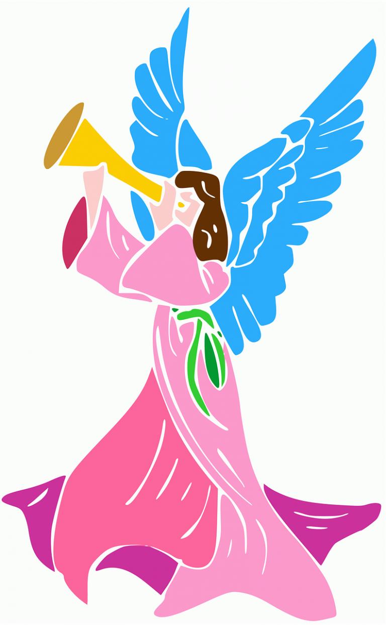 angel, trumpet, rosa