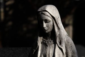 virgin mary, statue, cemetery