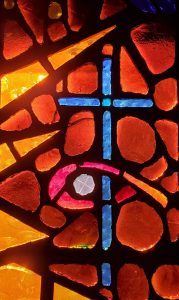 cross, stained glass, church