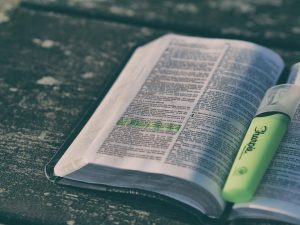 bible, book, highlighter