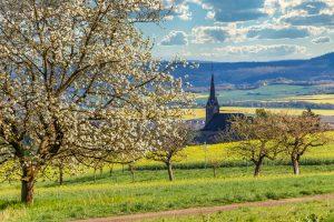 landscape, nature, spring village