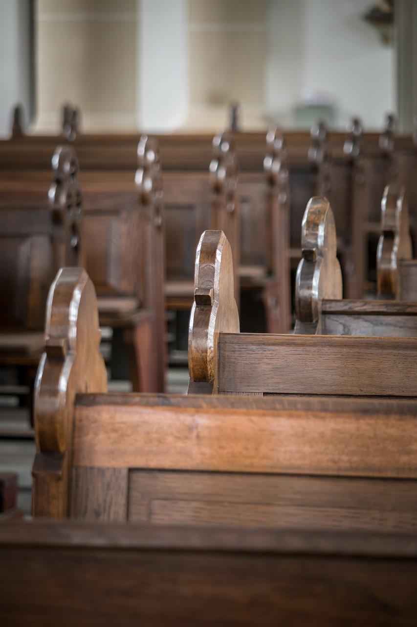 church pews, bank, church